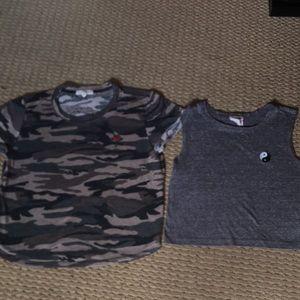 Two Pacsun (LA HEARTS) camo & ying yang shirts
